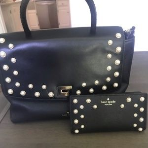 Used ONCE Kate Spade leather & pearl bag & wallet